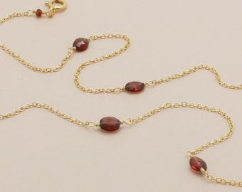 Red Garnet Chain Necklace, Red Gemstone, Long Necklace, December Birthstone Necklace, Layering Necklace, AA Red Garnet