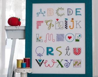 Alphabet Sampler Digital Download Hand Embroidery Pattern