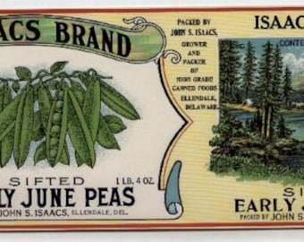 1930s June Peas Delaware Isaacs Lake Scene Old Can Label Original