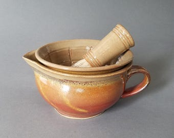 Two 2 Piece Shaving Scuttle Water Reservoir and Lather Bowl in Orange Tan Brick Red Sunset