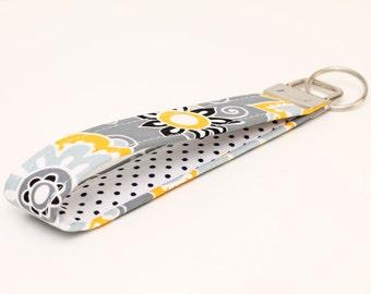 Gray Keychains, Floral Key Fob, Fabric Key Chain Wristlet, Handmade Gift Key Wristlet, Women's Key Holder - gray yellow floral white dots