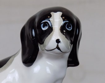 Vintage Black and White Spaniel Dog Figurine