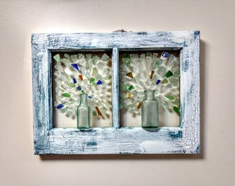 """SOLD-Sea Glass Mosaic """"Blown Away"""" Authentic Chesapeake Bay Sea Glass Old Bottles Debi's Design Diary Paint"""
