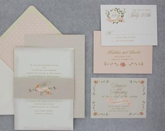 Watercolor Wedding Invitations Suite, Floral Wedding Invitation set with RSVP, Watercolour - Love Wreath Wedding Invitation | Sample Set