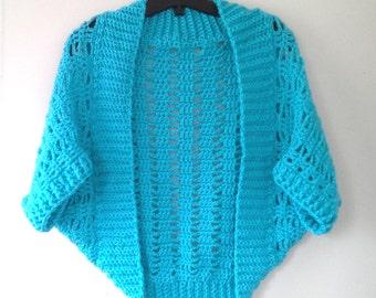 Short 'n Sweet Ribbed Lace Crochet Shrug Pattern