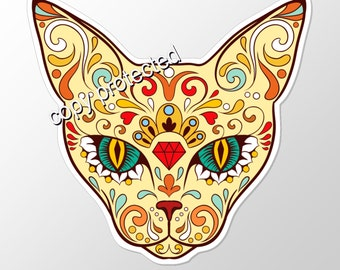 sugar skull cat  vinyl sticker, day of the dead  calavera, laptop stickers, car stickers, cat stickers,