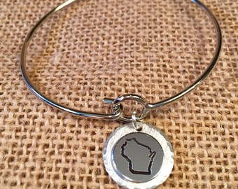 Hand Stamped State of Wisconsin Bangle, Wisconsin Bracelet, Wisconsin Bangle, Hand Stamped WI Jewelry, WI Jewelry, Wisconsin Jewelry
