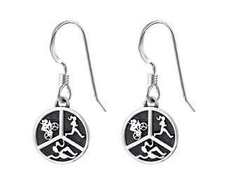 Triathlon Jewelry - Triathlon earrings Sterling Silver