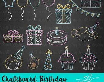 Chalkboard Birthday Clipart / Digital Clip Art for Commercial and Personal Use / INSTANT DOWNLOAD