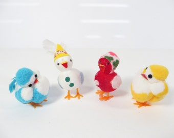 Vintage Felt Ball Spun Cotton Easter Decorations - Set of 4 Easter Ducks and Chicken