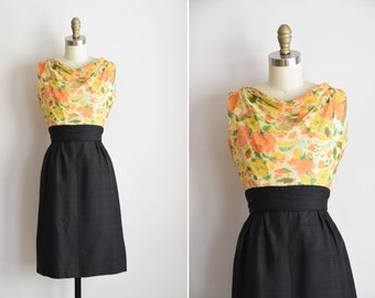 1950s Spring Renewal dress / vintage 50s silk party dress/ floral chiffon wiggle dress