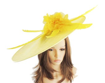 Manakel Yellow Saucer Hatinator for Kentucky Derby, Weddings on a Headband (20 colours available)