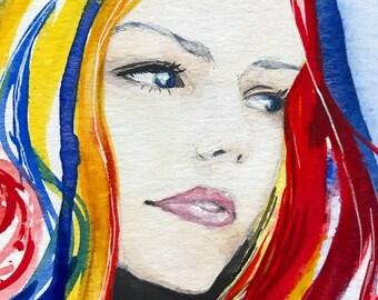 Original Rainbow Hair Watercolour Wall Art A5