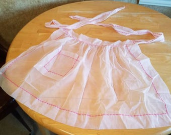 Vintage Sheer Pink Baking Cooking Apron