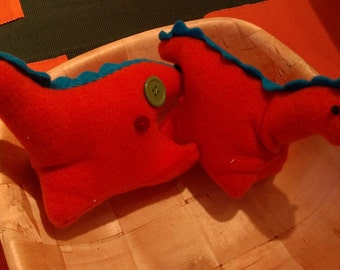 Button dinosaur plushie