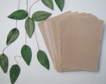 "Green tea Handmade paper sheets, Recycled paper, Eco friendly Decorative paper, Natural rustic Craft paper, 4 sheets 6"" x 8.5"" (15cm x 21cm)"