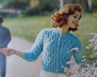 Knit Sweater Pattern PDF - 1960's Vintage Pattern, Ladies' Knit Cardigan Sweater 2803