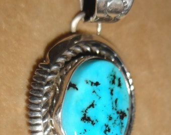 Vintage Navajo Turquoise Oval Pendant Sleeping Beauty Handmade and stamped by Lester Jackson
