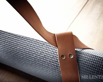 Yoga Strap, Leather Yoga Mat Strap, Yoga Pad Strap, Cinch Strap  071