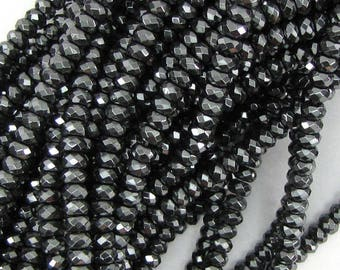 """4mm faceted hematite rondelle beads 15.5"""" strand 10648"""