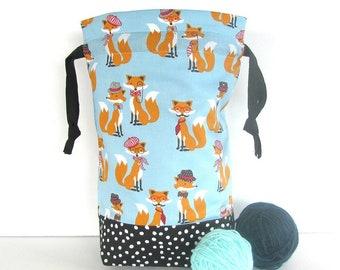 Fox Knitting Bag, Drawstring socks project bag, Gift for Knitters