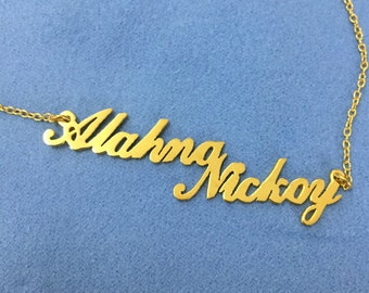 Gold Plated necklace Custom name necklace Lovers necklace