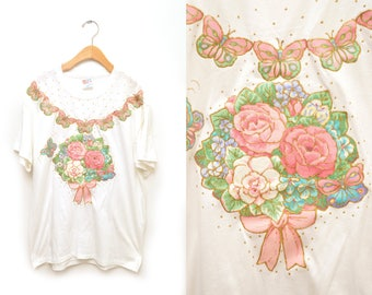 90s Flower Bouquet Applique Embellished Shirt Size Large Puff Paint Hanes Butterfly Glitter Gold