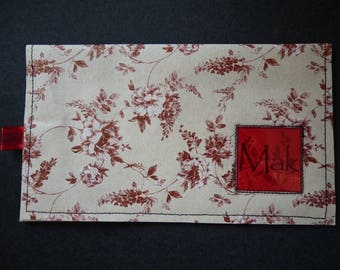 Checkbook style red flowers vintage