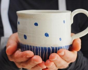 Handthrown Mug, Stoneware mug, ceramic mug, Coffee mug, blue mug, pottery mug, handmade mug, tea mug, handmade gift, housewarming gift