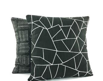 Black Throw Pillow COVERS Decorative Pillow Black White Home Decor Accent Sofa Pillow for Couch Designer Black Slub Canvas Pillows Bed