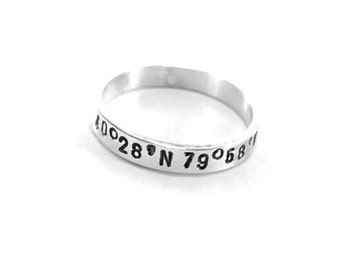 Silver GPS Ring Longitude Latitude Ring For Men & Women Sterling Silver Coordinates Ring