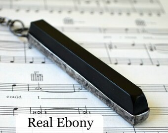 Piano Key Necklace - Real Ebony - Piano Necklace - Gift for Musician - Piano Jewelry - Music Necklace (2295)