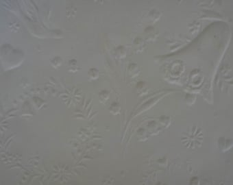 Vintage 1970s Wedding Gift Wrap -Ivory Embossed Wrapping Paper 1 Sheet