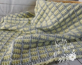 Yellow baby blanket - Tunisian crochet baby blanket - baby blanket - Yellow and gray baby blanket - yellow blanket - baby shower gift - trav