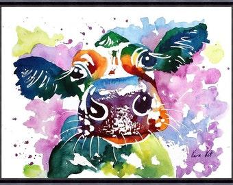 COW Original Watercolor Painting Original Art Print Watercolor Art