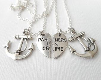 2 Partners in Crime, Anchor- Best Friends Necklaces/ Bff jewery, bff, Gift ideas, Best Friend Gift, Bff Gift, Friendship Necklace