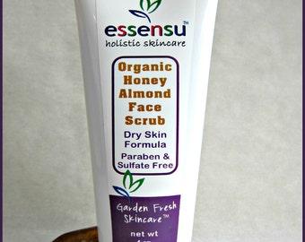 Organic Raw Honey Almond Chia Seed Gentle Exfoliating Moisturizing Face Scrub   Dry , Normal , Sensitive Skin   All Natural No Gluten - 4 oz