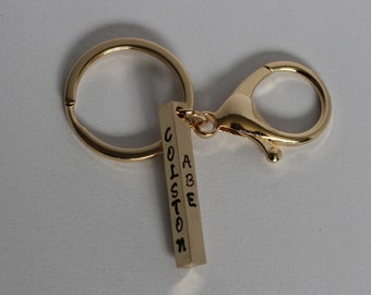 Personalized Four Sided Metal Stamped Keychain