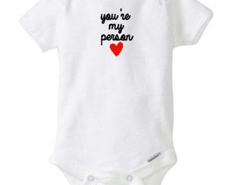 baby boy onesie, you're my person, baby boy, baby girl, grey's anatomy, onesie