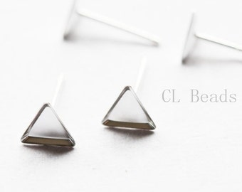 2pcs (One Pair) Sterling Silver Earring Setting - Cab Holder - Triangle - 6mm (475C-I-63)