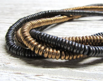 Brass Beads 4 x 1.5mm  Metal Gold Toned or Gunmetal Gray Smooth Disk Beads - 8 Inch Strand