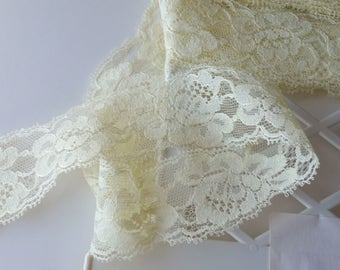 """4 yards pale yellow lace trim 1-1/4"""" wide"""