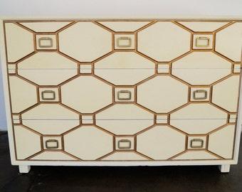 Breathtaking Mid-century Hollywood Regency Original Dresser Designed by Dorothy Draper for Henredon - Relacquered!