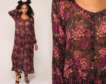 Sheer Floral Dress Button Down Maxi 90s Long Floral Grunge Boho 1990s Bohemian Vintage Pink Purple Tent Medium