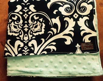 Black and White Damask with Robins Egg Blue Minky Baby Blanket