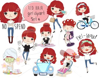 Red hair girl clipart set 4 ,girl stickers clipart instant download PNG file - 300 dpi