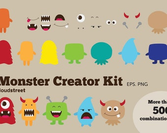 BUY 2 GET 1 FREE Cute Monsters Creator Kit clip art for personal and commercial use ( monster clipart )