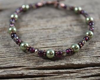 Bracelet / Light Green Swarovski Pearl, Garnet, and Copper / Gifts for Her / Gifts for Women / Copper Bracelet / Red Bracelet / Garnet