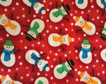 VIP Cranston Cotton Christmas Fabric - Snowmen on a Red Background