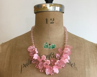 1980s Pink Lucite Bead Leaves Necklace 80s Leaf Necklace